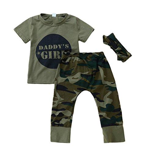 Anywow 2 stücke Säugling Kleinkind Baby Jungen Mädchen Brief T-Shirt Tops Camo Hosen Böden Kleidung Set, Mädchen Camo, 12-18M