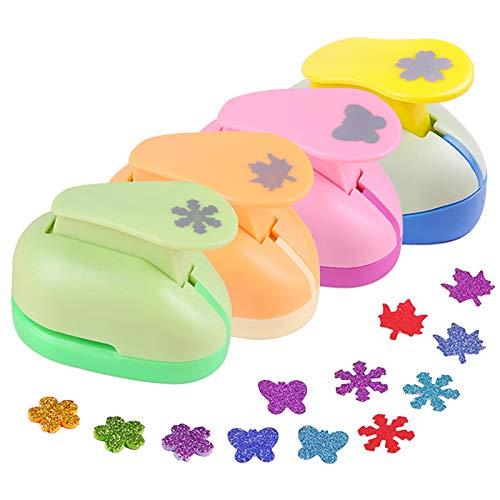 Chingde Papierstanzer, 4 Stück Motivlocher Kinder Set Papier Ausstanzer Motivstanzer Set für Basteln DIY Sammelalbum Handwerk Werkzeug, (Zufällige Farbe)