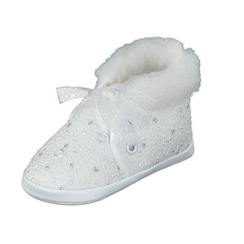 Taufschuhe Babyschuhe Lauflernschuhe Kinderschuhe, Festliche Baby Schuhe, Spitzenstoff, Gefüttert,Weiß-spitzenstoff,19 EU (Herstellergröße 12)