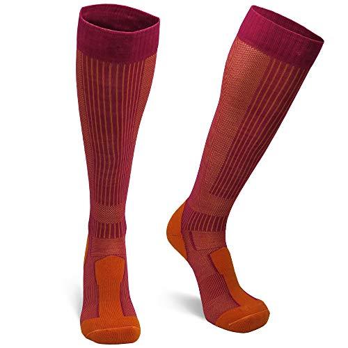 DANISH ENDURANCE Lange Merino Outdoor-Socken mit Zecken- und Mückenschutz 1 Paar (Fuchsia/Orange, EU 31-34)