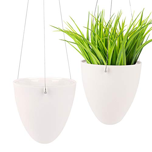Ulikey 2 Stück Hängepflanztopf Blumenampeln zum Aufhängen, Selbstbewässernder Hängender Pflanzer, Pflanzenhalter Pflanzgefäß, Moderner Dekorative Pflanzenampel für Innen Outdoor Dekorationen