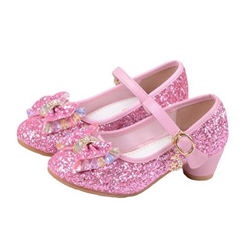 O&N Prinzessin Gelee Partei Absatz-Schuhe Sandalette Stöckelschuhe für Kinder(Size 36 EU) Rosa
