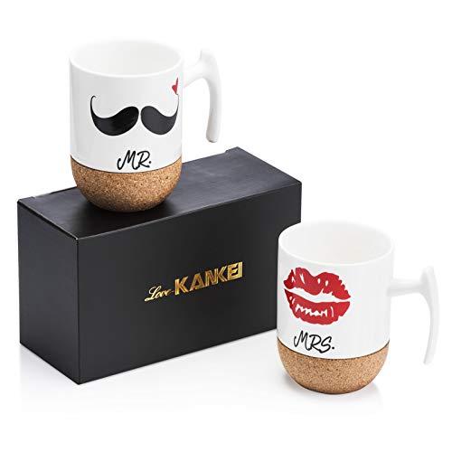 Love-KANKEI MR MRS Tassen Kaffeetassen Hochzeitsgeschenk Kaffeebecher Set, Korkboden Design Keramik 300ml, Hochzeit Valentinstag Pärchen Ehepaar Freunde