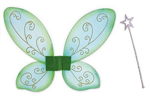 KarnevalsTeufel Elfen-Set, Gold oder Silber Stab mit Flügel grün, Fee, Zauber, Märchen, märchenhaft, zauberhaft, Elfe (Silber)