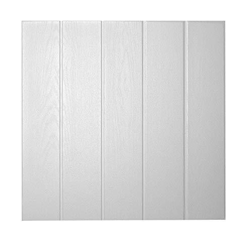 DECOSA Deckenplatten ATHEN in Holz Optik - 16 Platten = 4 m2 - Deckenpaneele in Weiß - Decken Paneele aus Styropor - 50 x 50 cm