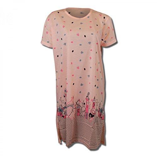 Lavazio Damen Nachthemd Kurzarm mit tollem Motiv in 9, Größe:XXL, Farbe:orange/rosa