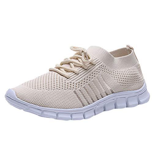 Damen Laufschuhe Fliegen Weben Sneaker Socken Schuhe Turnschuhe Freizeitschuhe Student Leichte Sportschuhe für Trainning Running Fitness Gym Walking Jogging Laufen, Beige, 39 EU