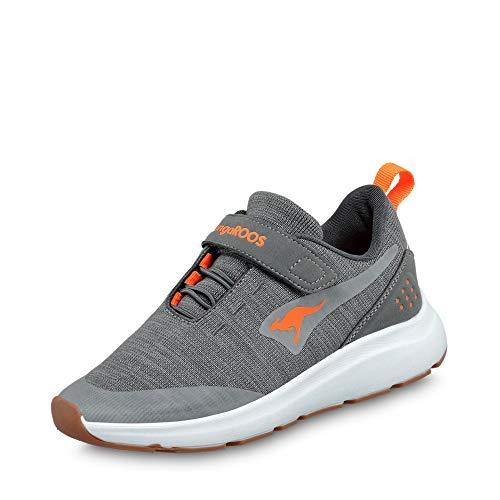 KangaROOS Unisex-Kinder KB-Hook EV Sneaker, Steel Grey/Neon Orange 2125, 34 EU
