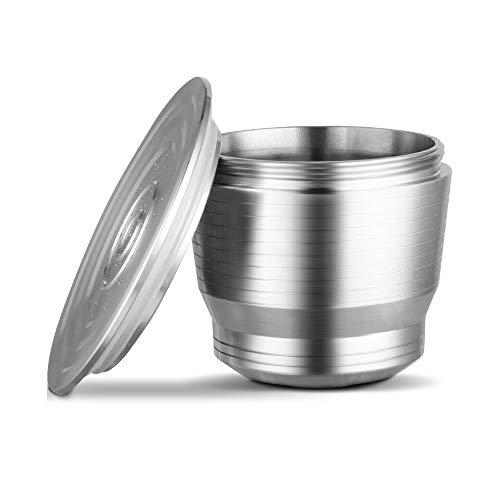 Wiederverwendbare Nachfüllbare Kaffeekapsel, Bresuve Rostfreier Stahl Metall Wieder Auffüllbar Kaffeekapsel zum Nespresso Maschine mit 1 Löffel und 1 Pinsel