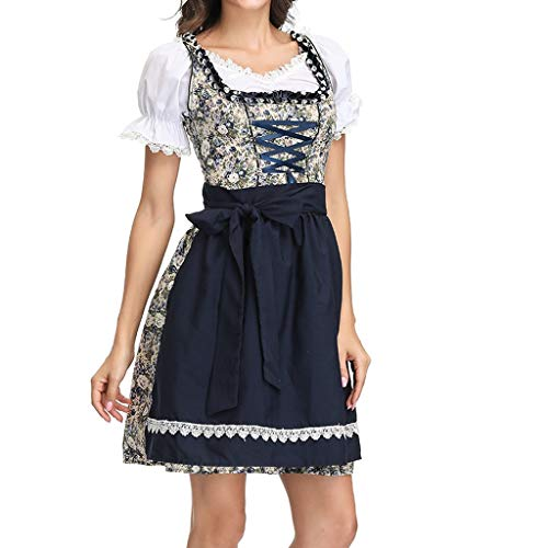 SANNYSIS Damen Oktoberfest Dirndl Kleid, Blumenmuster Bayerische Taverne Bar Maid Party Cosplay Dirndl Spleiß Traditionelles Minikleid Oktoberfest Karneval Kostüm (M, Schwarz)