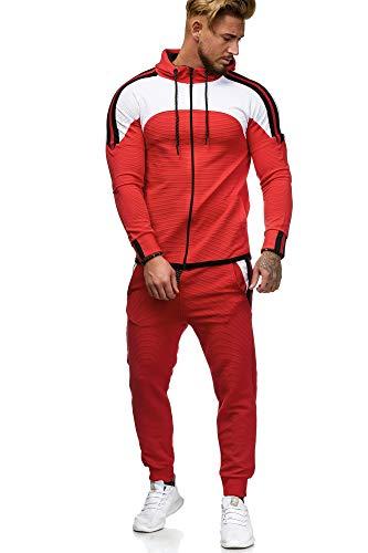 OneRedox Herren Jogginganzug Sportanzug Männer Trainingsanzug Fitness Sporthose und Trainingsjacke Modell 1148 (XL, Rot)