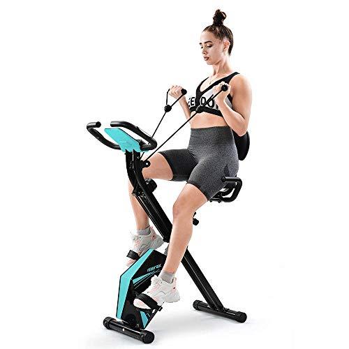 Unisex F-Bike Advanced Heimtrainer mit LCD-Display 4 in 1 Fitness Bike Hometrainer Fahrrad Klappbar mit Rückenlehne Magnetic Indoorcycling Exercise Bike mit Expanderbänder Fitnessbike für Zuhause Büro
