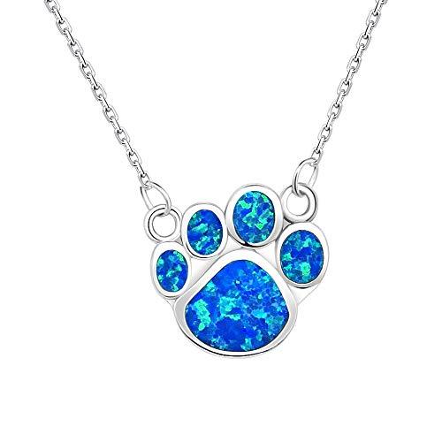 KELITCH Halsketten Zum Frau Männer Blau Opal Hund Pfote Drucken Halskette 925 Sterling Silber Überzogen Zum Mädchen Personalisiert