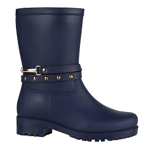 Damen Gummistiefel Stiefeletten Regen Schuhe 144447 Blau Nieten Arriate 36 EU Flandell