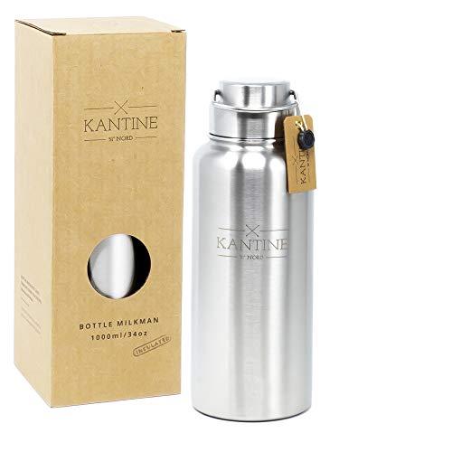 Kantine 51° Nord ® Isolierflasche Milkman 1000ml | Doppelwandige Edelstahl Trinkflasche 1l mit Vakuumisolierung