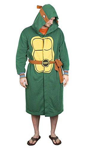 Teenage Mutant Ninja Turtles Herren Bademantel mit Kapuze und Gürtel (Größe S/M)