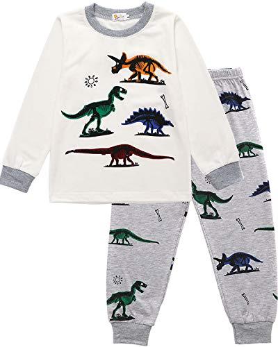 EULLA Jungen Schlafanzug Lang Kinder Pyjama Baumwolle Nachtwäsche, A-weiß, EU 110(4-5Jahre)=Tag 120