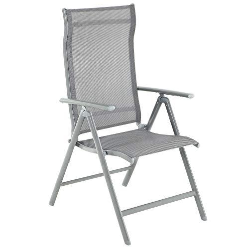 SONGMICS Gartenstuhl, Klappstuhl, Outdoor-Stuhl mit robustem Aluminiumgestell, Rückenlehne 8-stufig verstellbar, bis 150 kg belastbar, grau GCB02GY