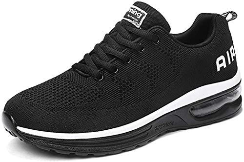 gojiang Herren Damen Laufschuhe Turnschuhe Sportschuhe Straßenlaufschuhe Sneakers Atmungsaktiv Trainer für Running Fitness Gym Outdoor Leichte-BlackWhite44
