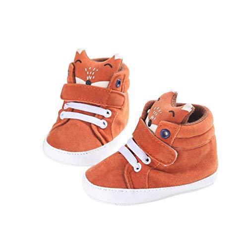 DEBAIJIA Kleinkind Schuhe Baby Mädchen Baumwolle Babyschuhe Sneakers mit weichen und rutschfesten Sohle Für 6-18 Monate Gummiband und Klettverschluss Slip-On-Verschluss Fox-Muster