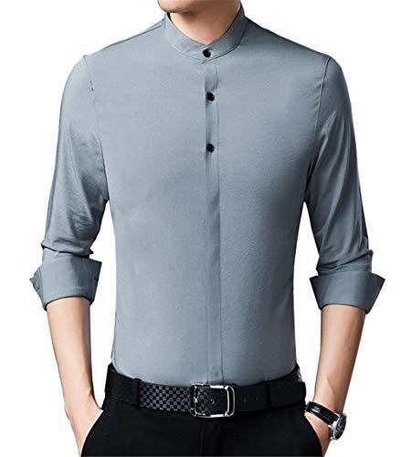 YOJDTD Bekleidung Herren Langarmhemd Herrenhemd Dickes Hemd, blau_175 / XL