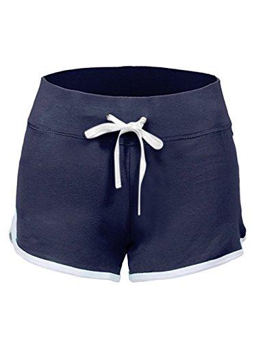 SwissWell Damen Sport Shorts Kurze Hosen Baumwolle Yoga Athletik Tanzen Shorts Fitness Hot Pants Hipster Workout, mit leichtem Figur formenden Effekt Dunkel Blau EU-S/Herstellergröße-M