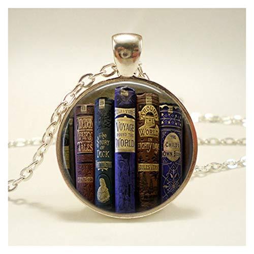 DERFX Mode-Kette Glaskuppel Vintage-Bibliothek und Bücher Anhänger Halskette for Schüler Lehrer und Bibliothekare Halskette Zubehör (Metal Color : 1)