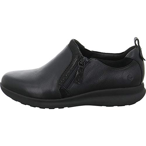 Clarks Womens Shoe Un Adorn Zip Black Combi 5.0 E