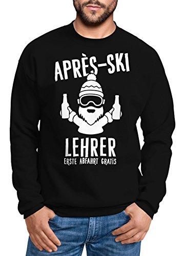 MoonWorks Sweatshirt Herren Apres-Ski Lehrer Rundhals-Pullover schwarz L