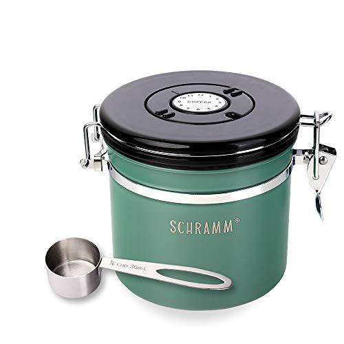 Schramm® Kaffeedose 1200 ml in 10 Farben mit Dosierlöffel Höhe: 12cm Kaffeedosen Kaffeebehälter aus Edelstahl, Farbe:Grün