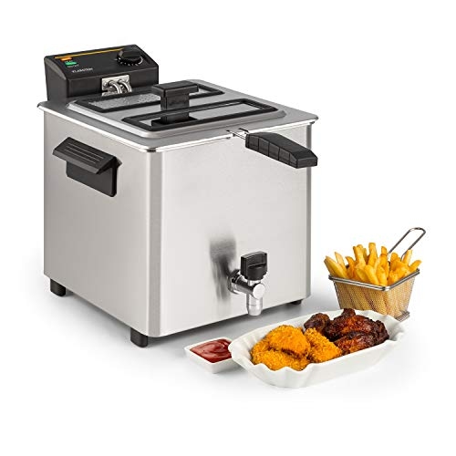 Klarstein Family Fry Fritteuse - 3000W, Garkorb nach XXL Concept, stufenlos regelbares Thermostat, Oil Drain Technology, Cool Zone-Verfahren, Cool Touch Housing, Edelstahl, silber