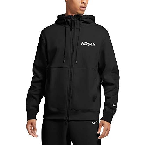 Nike Herren Sweatshirt M NSW Air Hoodie Fz FLC, Black/(White), L, CU4134