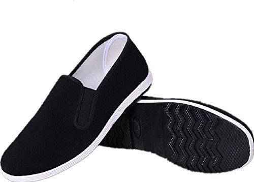 APIKA Chinesische traditionelle Peking-Stil Schuhe Kung Fu Tai Chi Schuhe Gummisohle Unisex Schwarz (260/42EU)