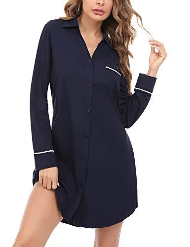 Doaraha Nachthemd Damen Langarm mit Knopfleiste, Schlafshirt mit Knöpfen Boyfriend Sleepshirt Kurz (Dunkelblau, L)