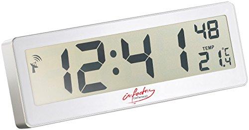 infactory Funkuhr großes Display: Kompakte Funkuhr mit riesigem XXL-LCD-Display und Temperatur-Anzeige (Funkuhr Digital großes Display)