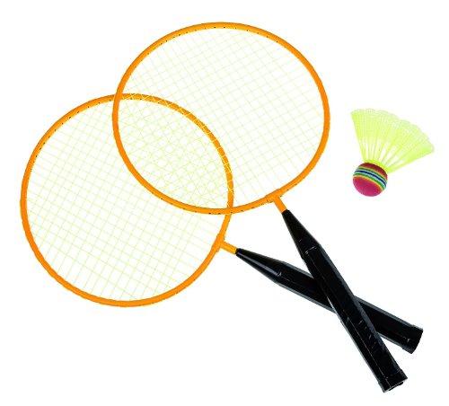 Idena 7408408 - Federball Set Junior mit 2 Schlägern und einem Ball, Ballspiel für Kinder und Erwachsene, ideal im Sommer für Garten, Park oder Strand