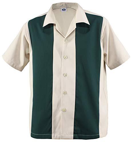 Herren Bowling Camp Cabin Cabana Shirt Worker Hemd Rockabilly Two Tone Gabardine Lounge Fifties Vintage Retro Double Panel D600 (XL/Xtra-Large, Beige/Grün)
