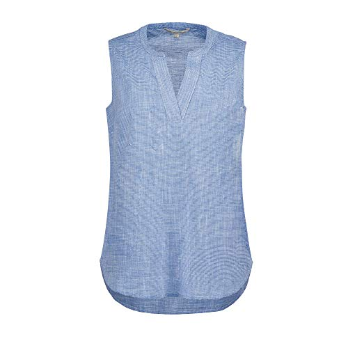 TOM TAILOR Denim Damen Sporty Slub Bluse, 21468-light Blue White slu, XXL
