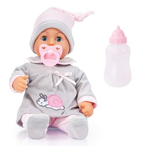 Bayer Design 93824BC Babypuppe First Words mit Schlafaugen, 24 Babylaute, 38 cm, grau, rosa mit Schnecke