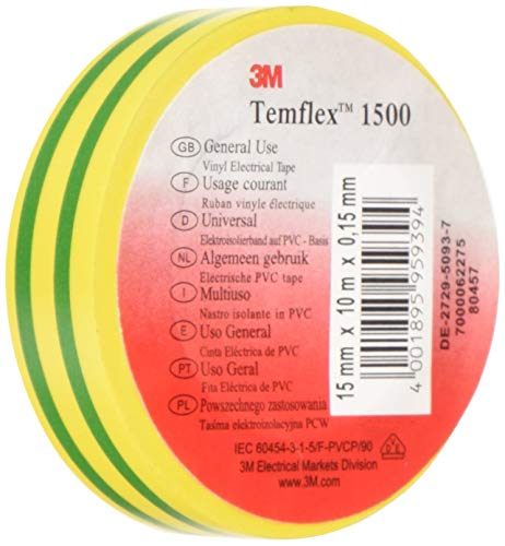 3M TGG1510 Temflex 1500 Vinyl Elektro-Isolierband, 15 mm x 10 m, 0,15 mm, Gelb/Grün