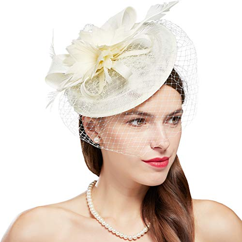 BABEYOND Feder Fascinators Hut Damen Ahorn Blatt Mesh Hochzeit Braut Elegant Fascinator Haarreif Cocktail Tee Party Damen Fasching Kostüm Accessoires (Beige)