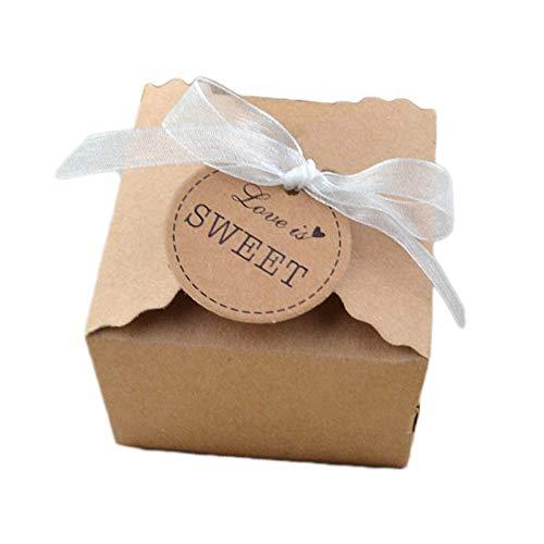 knowing 50 Stuck Kraftpapier Geschenkbox Geschenkschachtel Mit Gift Tags Für Hochzeitsfest Geschenk Verpackung Bevorzugung Geschenk Candy Braun (Chiffon Garn)
