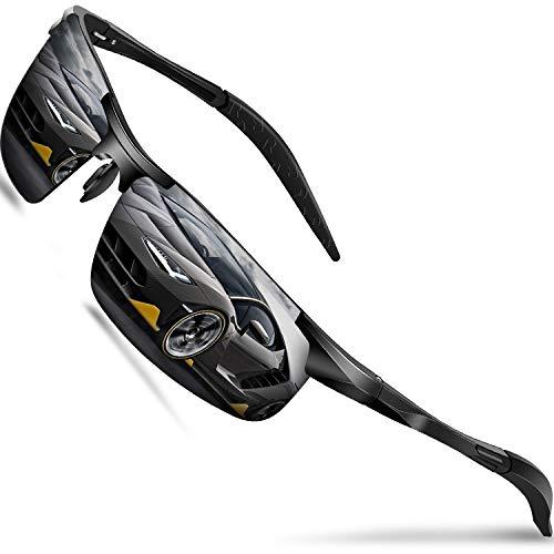 DADA-PRO Sonnenbrille Herren Sportbrille Damen Polarisiert Verspiegelt Retro Fahren Fahrerbrille UV400 Schutz für Autofahren Reisen Golf Party und Freizeit (Schwarz Neu/Nicht Vespiegelte Linse)