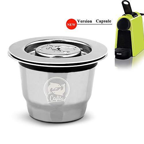 i Cafilas Edelstahl-Kapseln, wiederverwendbar, nachfüllbar, Crema-Kaffeekapseln, mit wiederverwendbaren Deckeln, kompatibel mit Nespresso-Maschinen