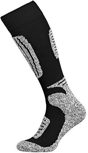 Tobeni 2 Paar Damen Herren Skisocken Funktionssocken Snowboardsocken Winter-Socken Unisex Farbe Schwarz-Grau Grösse 39-42