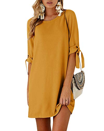 YOINS Damen Kleider Rundhals Blusenkleid Damen Winterkleid für Damen Langarm Minikleid Lose Tunika mit Bowknot Ärmeln
