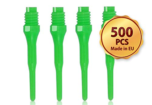 OLYMPOO - 500 STK.Profi Dartspitzen Kunststoff für elektronische Dartscheibe - 2ba klein Gewinde - Dartpfeile Spitzen aus Plastik (Green)