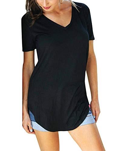 Yidarton Damen Sommer T-Shirt Basic Kurzarm Tops V-Ausschnitt Lockere Oberteile Solide Casual Shirts A-schwarz L