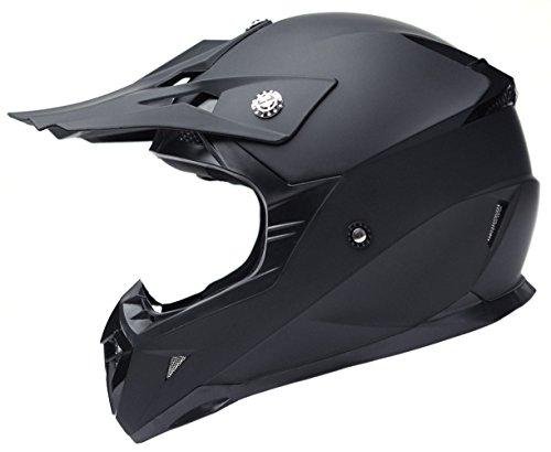 Motocross Motorradhelm Downhill Fullface Helm - Yema YM-915 Cross DH Enduro Quad Mountainbike BMX MTB Helm ECE für Damen Herren Erwachsene-Schwarz Matt-S