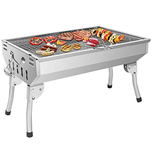 Sunjas Holzkohlegrill Edelstahl BBQ Grill, Tragbarer Klappgrill, Rostfreier Stahl Reisegrill, Charcoal Grill für Barbecue Picknick Party Camping und Festivals (48 * 32.5 * 29cm)